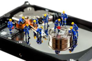 Hard disk repair concept. Macro photo